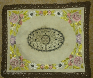 Antique Needlework(embroidery) Textile, no: 158, size: 34*41cm, 19th century, silk and metal(silver) and wool on cotton.