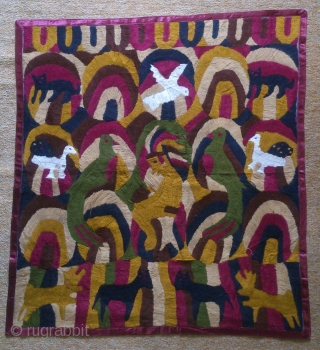 India Pictorial embroidery, no: 181, size: 78*72cm, wool on cotton.