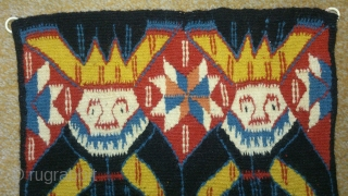 Antique Norwegian or Swedish pictorial Kilim, no: 226, size: 40*32cm, the tapestry very beautiful, wool on cotton, all natural colors.
