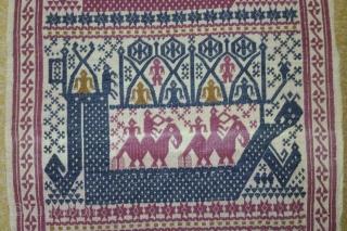 Antique South-East Asian(indonesia) embroidery Textile, no: 168, size: 106*42cm, conceptual design, cotton on cotton.