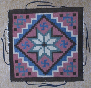Antique Swedish Kilim, no: 258, size: 49*48cm, Swastika motifs, wool on cotton, all natural colors.