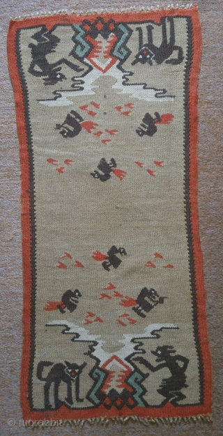 Antique Scandinavian or Sarkoy kilim, no: 136, size: 95*42cm, pictorial and conceptual design, wool on wool, wall hangings.