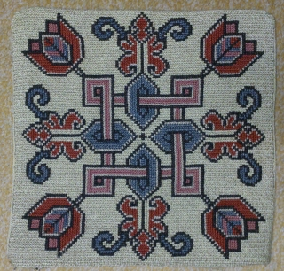 Antique pillow Swedish cross stitch, no: 207, size: 30*29cm, flower tulip design.