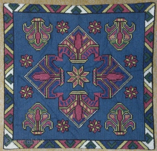 Antique Swedish cross stitch wool on linen, no: 204, size: 51*49cm.