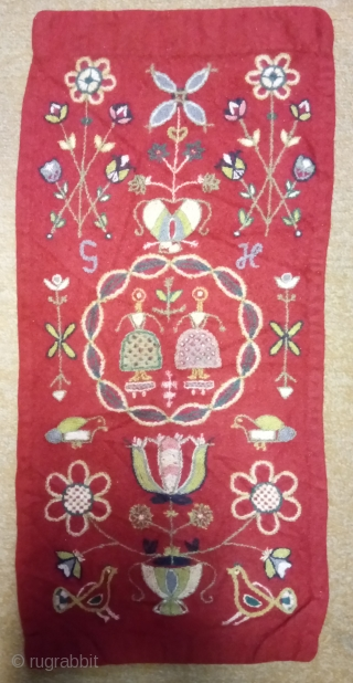 Antique Swedish embroidery wool on wool, no: 363, size: 71*34cm, signed(S H), pictorial design, wall hangings.