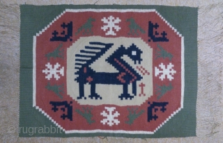Antique Swedish kilim(Rolakan technique), no: 324, size: 76*56cm, pictorial design, wall hangings.