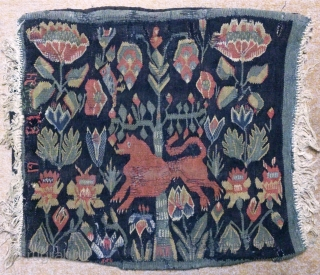 Antique cushion Swedish kilim, no: 317, size: 55*50cm, Lion pictorial design, dated and signed.