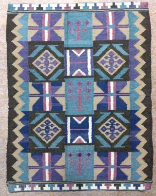 Antique Swedish kilim(Rolakan technique), no: 334, size: 74*57cm, tree of life design, wall hangings.