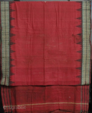 ANTIQUE  COTTON HANDLOOM SAREE OF KOND TRIBE OF ORRISA .