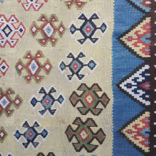Grand old 19C Qashqai kilim, approx 282 x 142cm.  Finely woven, this rug has an unusual field colour that is best described as pistachio green for the main, blending into a more camel  ...