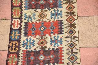 Antique Turkish Budur Kilim (one side) 19th Century, Lovely colours, size 450 x 80 cm