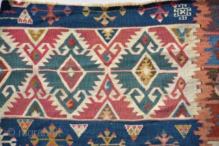 Anatolian Kilim fragment properly mid 19th century size is 105 x 78 cm