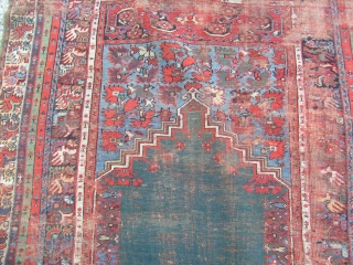 antique mudjur prayer rug, green mihrab
