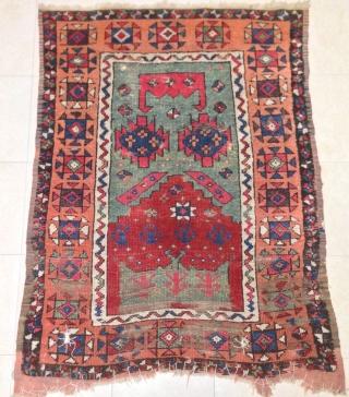antique anatolian konya rug 18th century  cm 1.45  x 1.04