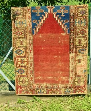anatolian  konya  ladik prayer rug fragment  cm 1.50 x 0.90  18th century