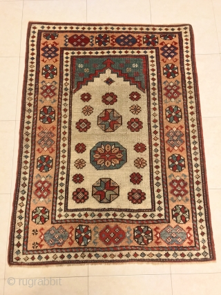 NORDWEST ANTIQUE ANATOLIAN KÜTAHYA PRAYER RUG CM  1.10 x 0,83  epoca 1850/60 circa 
