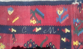 Nice early 19th century Pirot Sarkoy kilim with inwrought initials.Finest weaving, three of life central motif and beautiful kermes red background along with lajkuce border makes this one of the best kilims  ...