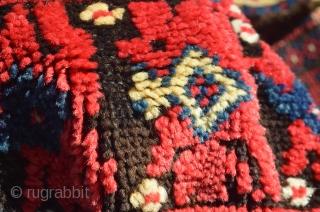 Antique Algerian rug  Wonderful kermes red background and juicy pile.
