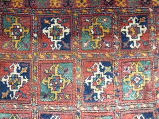 "# 789 Antique Kordi rug with ""turkmen guls"", 125/203 cm, Khorasan, late 19th century, full pile, few restorations, original selvages, good natural colours.