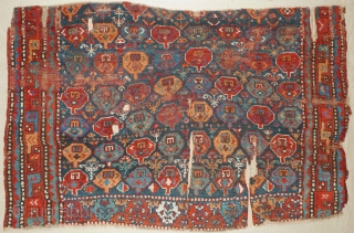 "This is one highlight of our 25 Years Jubilee Exhibition ""Persian Nomadic Textile Art 1992 - 2017"": # 1100 Kordi Main Carpet Fragment, 165/105 cm, Khorasan, 1st half 19th century, sewn on  ..."