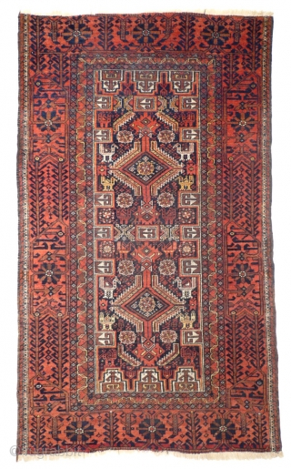 # 916 Baluch pile rug, 95/163 cm, East Persia, late 19th century, nice different bird abstractions, natural colours, fair pile!