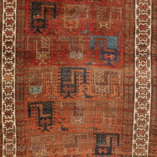 "This is one highlight of our current exhibition ""Spring Awakening"": 1148 Very rare symmetrically knotted Baluch / Bahluli rug, 79/144 cm (a vertical cut in the middle), last quarter 19th century, an  ..."