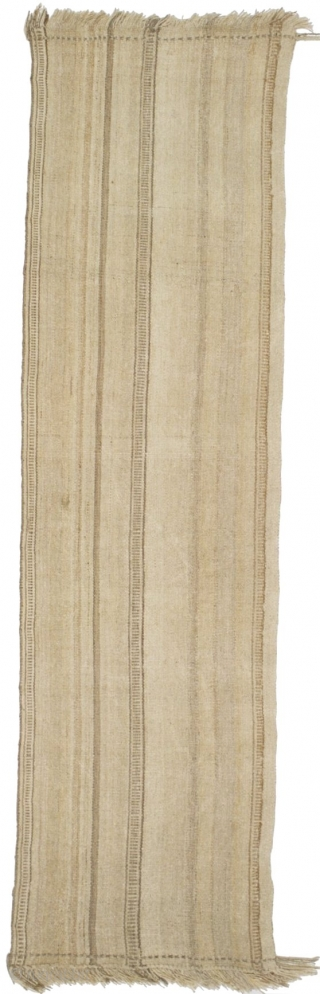 # 299 Arabian flatweave, 103/373 cm, 1st half 20th century, warp faced technique, wonderful soft wool, good condition, a minimalistic piece reminding the desert. For more offers of wonderful collector's pieces please visit  ...