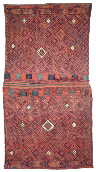 956 Rare flatwoven Jaf / Sanjabi khorjin, 66/125 cm, Kurdistan, late 19th century, outstanding natural colours.