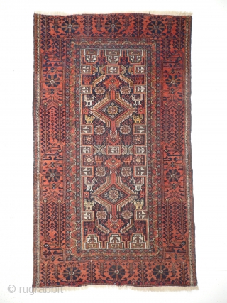 # 916 Baluch pile rug, 95/163 cm, East Persia, late 19th century, rare different bird abstractions, fair pile! 