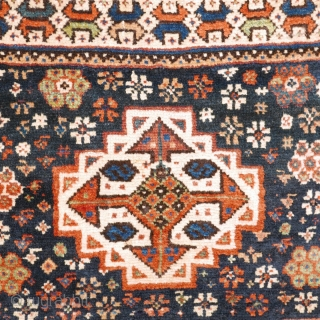 # 1088 Beautiful Qashqai Khorjin, 63/128 cm, Southwest Persia, last quarter 19th century, sides cut, some repairs, but full pile with wonderful natural dyes! For a complete overview please look at our  ...