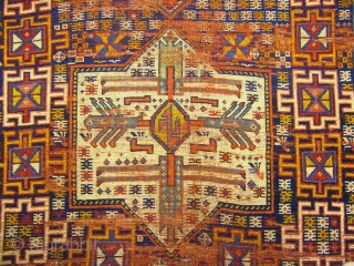 # 296 Great Kordi main carpet fragment, 145/330 cm, Darreh-Gaz region, Khorasan, the upper borders and the original selvages are missing, some areas of wear and a sewn crack; a unique field  ...