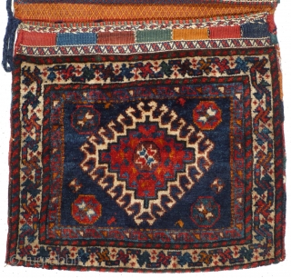 This is one highlight of our annual Advent Bazaar: 1024 Qashqai Khorjin, 56/108 cm, Southwest Persia, ca. 1900, complete double bag, outstanding natural dyes, wonderful back side, good condition, TOP collector's piece! For  ...
