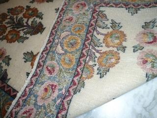 Antique Agra/ kashmir rug 3 ft x 5 ft short pile, low pile areas