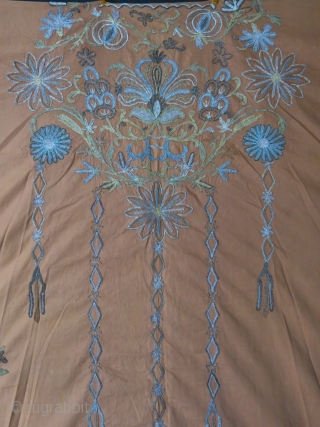 """Ottoman fine silk and metallic embroidery armless dress. Great condition to be worn, Real shade of color is like on close up photos. Circa 1900 or earlier- size : 46"""" X 38""""  ..."""