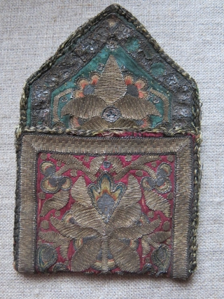 "Isfahan silk and silver emrboidery small envelope shape antique bag, survived up to present days. Almost 5"" tall and over 3"" wide"