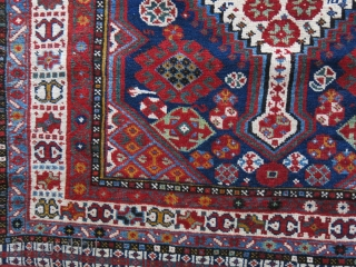 """Qashkai all wool rug with natural brown wool warps. smaller size than usual with still pile. usual great saturated colors. Circa 19th cent. size - 76"""" x 39"""" - 193 cm x  ..."""