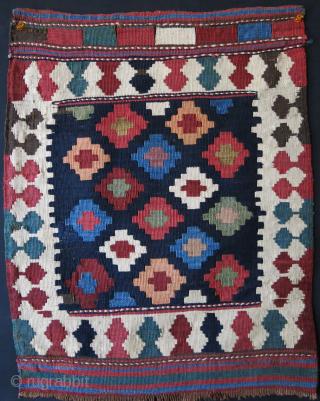 """Transcaucasian Kilim bag face, little fuchsine indicates circa 1880 -1900. 24"""" X 19"""" -- 61 cm X 49 cm"""