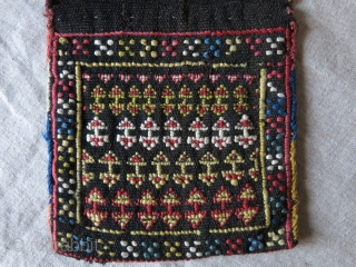 """Savalan ashairi Shahsavan mini double bag, finely warpface woven on goat hair, all natural dyes. Circa - 19th century - Size """" 7"""" by 7"""" each side bag -  overall size  ..."""