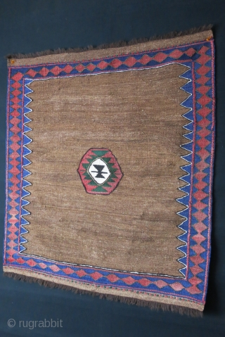 "Veramin Sofreh - eating mat, camel hair background. kilim weave with lazy lines, circa 1930s. size : 35"" X 31"" - 89 cm X 79 cm"