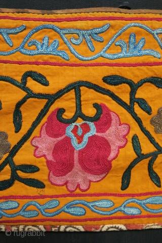 "Uzbekistan - Kitap lakai suzani fragment with fine embroidery. 19th cent. Size 58"" X 11"" - 147 cm X 28 cm"
