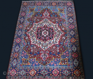 """Bakhtiar - with Qajar jewlery dynasty derived design. Full pile, good colors  great condition. Circa : 1900 or ealier size : 79"""" X 59"""" - 200 cm X 150 cm"""
