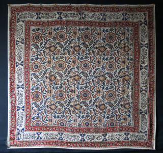 """Isfahan Qalamkari print and painted silk cover / hanging. Circa early 20th cent. Size: 54"""" X 52"""" -- 137 cm X 132 cm"""