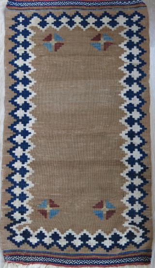 "Qashkai mini ceremonial kilim. Minor wears and old repairs as seenon close up image. Circa 1900 or earlier - size: 31"" X 18"" -- 79 cm X 46 cm"