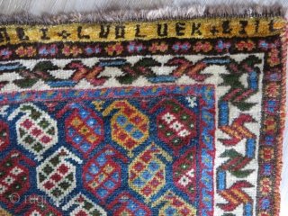 Qashkai small tribal rug. all wool with writing on top. possibly Armenian Baf- top center and right part of writing has old restoration. Images show still has pile. back side looks older  ...