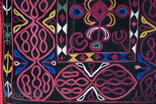 "Kirgiz Mirror cover - silk embrooidery on velvet with mirror backing. size: 23"" X 23.5"" - 60 cm X 58 cm. Circa - early 20th cent."