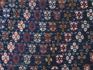 "Qashkai cover fragment - half side. Fine sumak weaving over warpfaced deep indigo jajim. size: 45"" X 27"" - 114 cm X 69 cm"