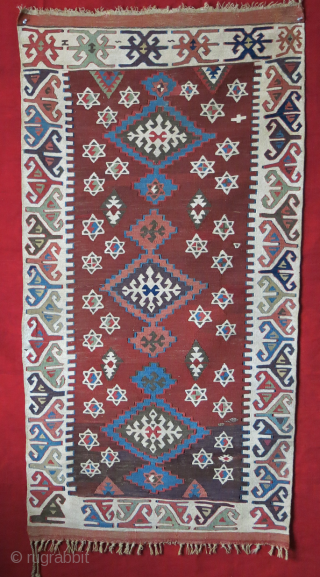 "Anatolian Konya Karapinar dowry kilim. wool and cotton mixed ivory color with a sign of small metallic emrboidery. Couple small repairs Circa 19th cent. or earlier size: 58"" X 31"" -- 148  ..."