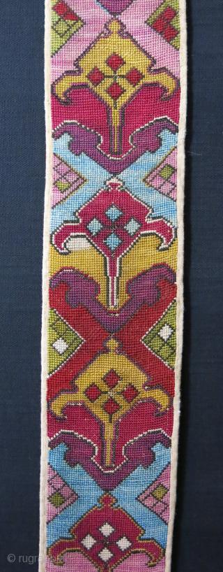 """Tajikistan Lakai cross stitch silk emrboidery ceremonial belt. Circa 19th. Size 33.5"""" X 4"""" -- 85 cm X 10 cm"""
