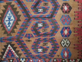 "Western Anatolian kilim - old reapirs on edges and soem areas. Size : 92"" X 71""  --  235 cm X 180 cm"