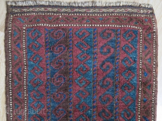 "Baluch balisht, some low pile areas, couple corner and minor reapirs as seen on images. size: 36"" X 20"" - 90 cm X 50 cm"